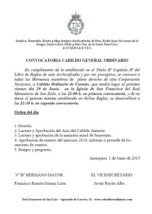 CONVOCATORIA CABILDO GENERAL ORDINARIO.